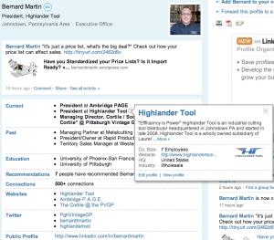 LinkedIn Profile Company Mouseover